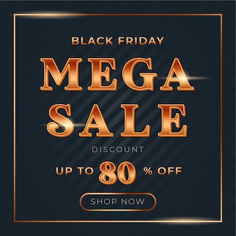 Vierkante mega sale met glanzend gouden verloop lettertype voor black friday sale banner