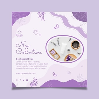 Vierkante nieuwe cosmetische flyer ontwerpsjabloon