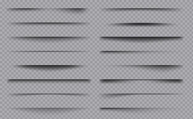 Vierkante overlay scheidingslijnen decoratie frame dozen met schaduwen sjablooncollectie.