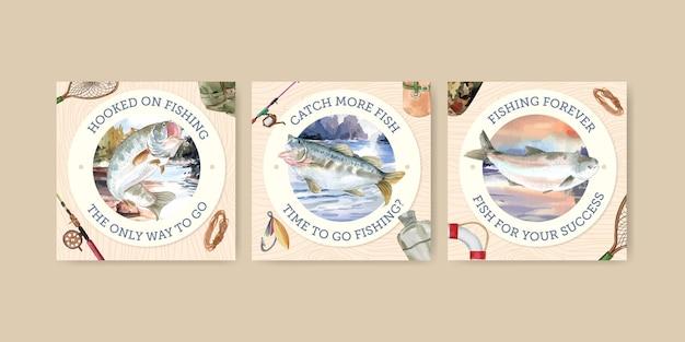 Vierkante post sjabloon met visserskamp concept, aquarel stijl