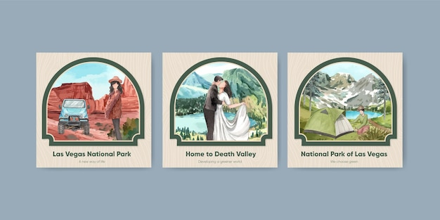 Vierkante postsjabloon met nationale parken van het concept van de verenigde staten, aquarelstijl