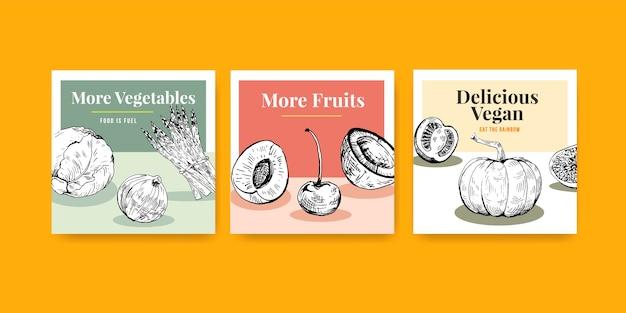 Vierkante postsjabloon met veganistisch voedselconcept