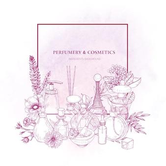 Vierkante rand versierd met parfum of toiletwater in glazen kolven en bloeiende bloemen getekend met roze contourlijnen op witte achtergrond.
