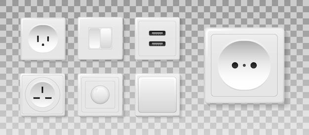 Vierkante rechthoekige en ronde witte wandschakelaar en stopcontacten