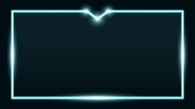 Vierkante rechthoekige fotolijst met cyaan neon