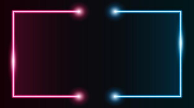 Vierkante rechthoekige fotolijst met tweekleurige paarse en blauwe neon