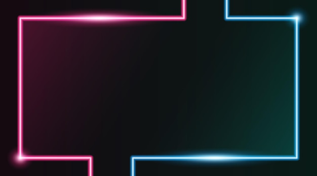 Vierkante rechthoekige fotolijst met tweekleurige roze en blauwe neon