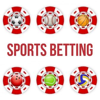 Vierkante rode casinofiches van voetbalweddenschappen