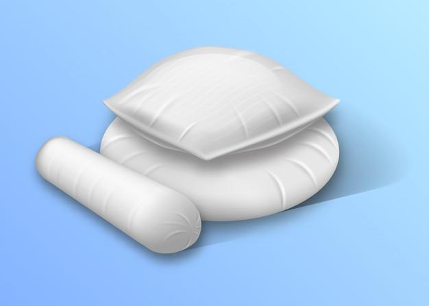 Vierkante, ronde en rollige kussens met cilindervormig bed