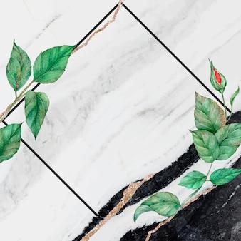 Vierkante roos frame marmeren achtergrond