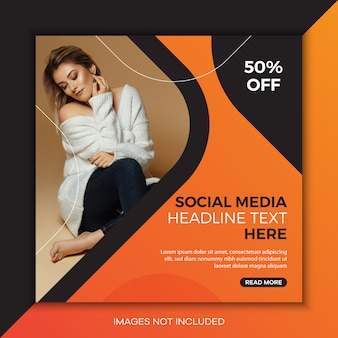 Vierkante sociale media postsjabloon