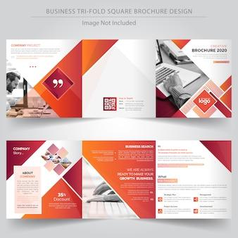 Vierkante trifold zakelijke brochure ontwerpsjabloon