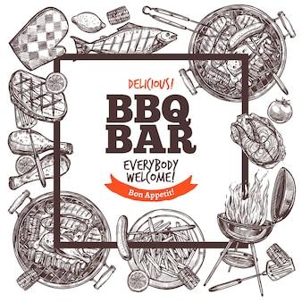 Vierkante uitnodiging voor barbecuepartij.
