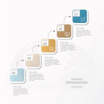 Vierkante vakstappen workflowprocesgrafiek voor presentatiedia-sjabloon.