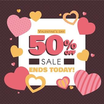 Vierkante valentijnsdag verkoop banner