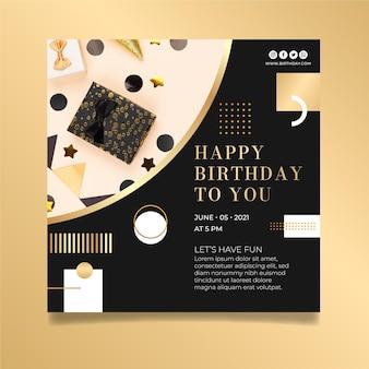 Vierkante verjaardag flyer ontwerpsjabloon