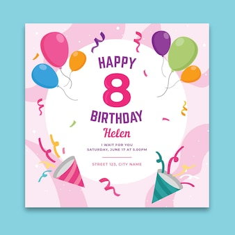 Vierkante verjaardag flyer-sjabloon