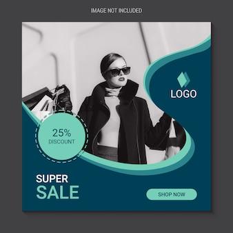 Vierkante verkoopbanner voor instagram, modewinkelthema
