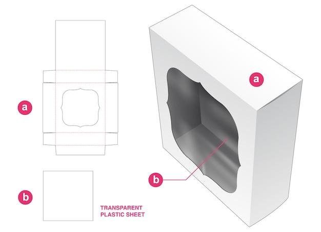Vierkante verpakking en venster met gestanste sjabloon van transparant plastic vel