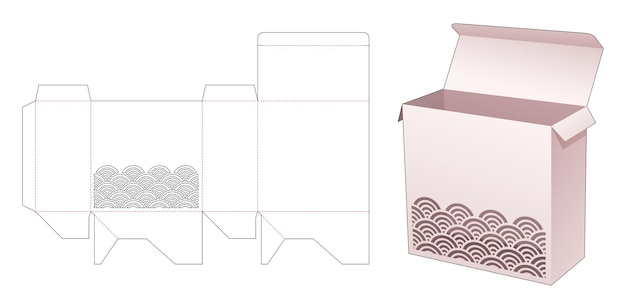 Vierkante verpakking met gesjabloneerde golfstanssjabloon