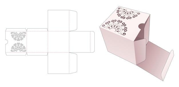 Vierkante verpakking met gestencilde mandala gestanste sjabloon