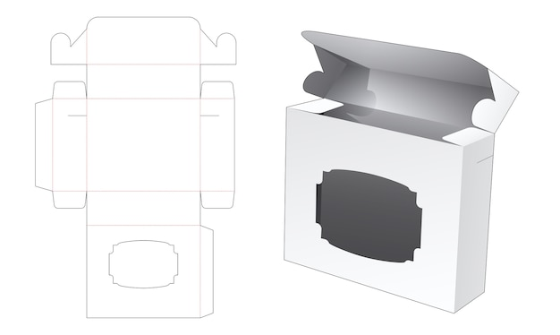 Vierkante verpakking met vintage venster gestanst sjabloon