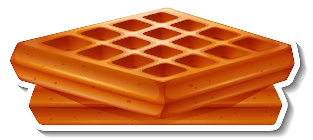 Vierkante wafel sticker op witte achtergrond