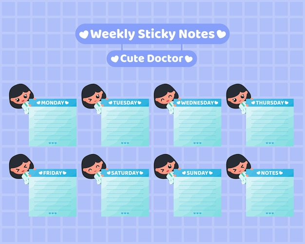 Vierkante wekelijkse plaknotities met schattig dokterskarakter