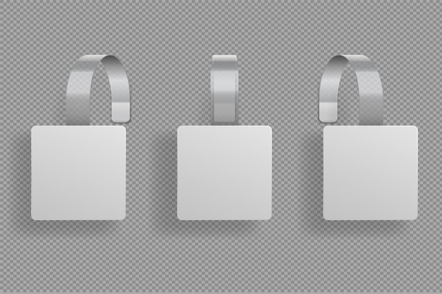 Vierkante wiebelaar. 3d witte lege wobblers supermarktbocht. duidelijke prijssticker vierkante vorm. goedkope plastic label. geïsoleerde indeling