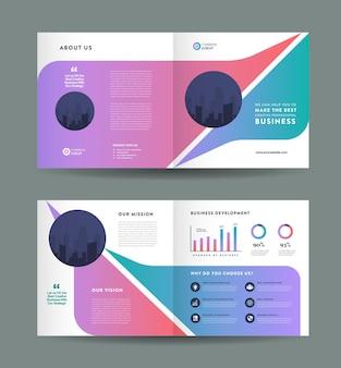 Vierkante zakelijke tweevoudige brochure