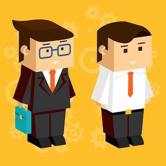 Vierkante zakenlieden. 3d-karakters voor zakelijke infographics, gekleed in pakken op de oranje achtergrond
