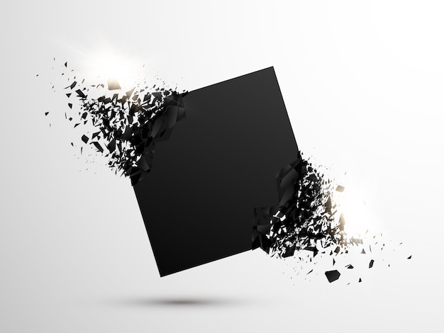 Vierkante zwarte deeltjes met explosief effect.