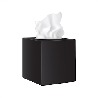 Vierkante zwarte doos met papieren servetten.