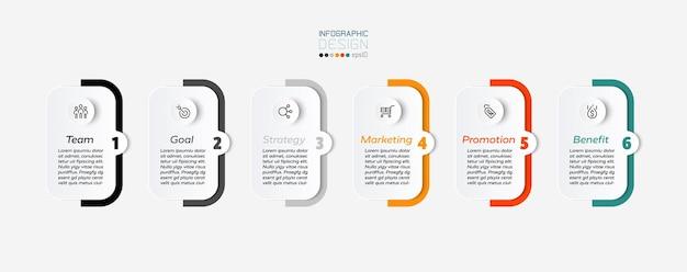 Vierkanten en gekleurde balken, 6 stappen infographic ontwerp.