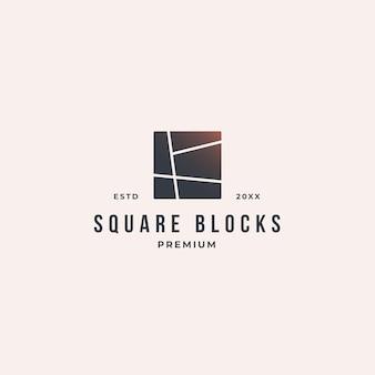 Vierkanten met rechte lijnen die elkaar in stukjes snijden en puzzelen.
