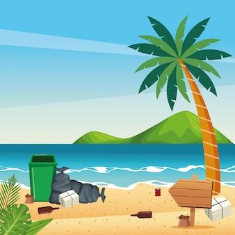 Vies strand met blikjes en flessen