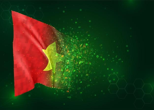 Vietnam, 3d vlag op groene achtergrond met polygonengon