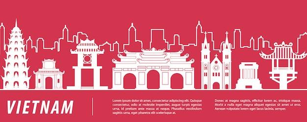 Vietnam beroemde bezienswaardigheid banner