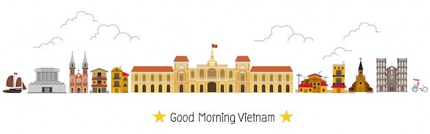 Vietnam en monumenten en reiship, tempel