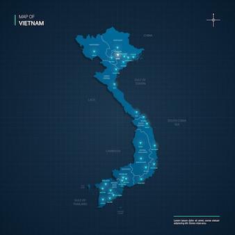 Vietnam kaart met blauwe neon lightpoints - driehoek op donkerblauw kleurverloop