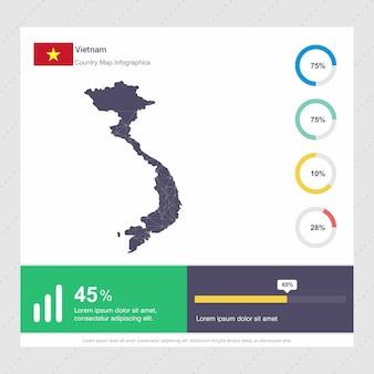 Vietnam kaart & vlag infographics sjabloon