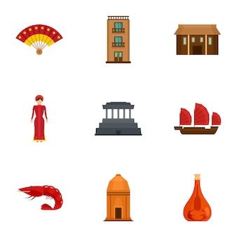 Vietnam traditie icon set, vlakke stijl
