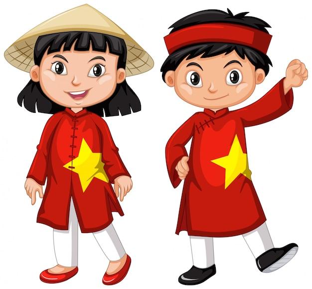 Vietnamees jongen en meisje in rood kostuum