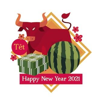 Vietnamees nieuwjaar 2021 en rode stier