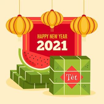 Vietnamees nieuwjaar 2021 met watermeloen