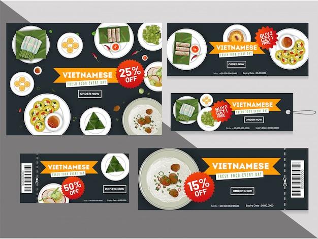 Vietnamese keuken kortingsbonnen of tags collectie