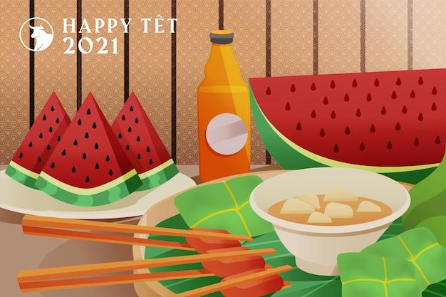 Vietnamese nieuwjaarsmaaltijd