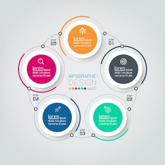 Vijf aansluitende cirkel infographics.