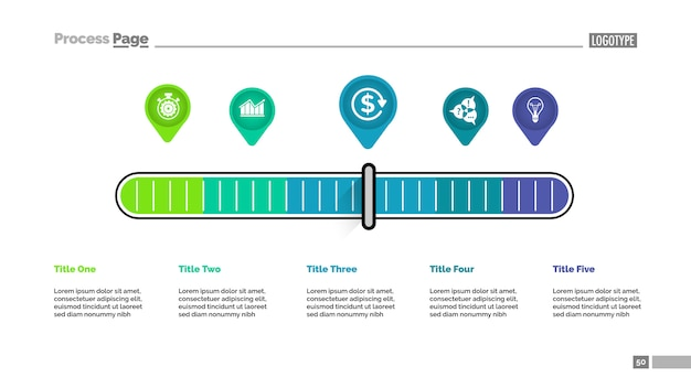 Vijf aanwijzers schalen metafoor proces grafieksjabloon voor presentatie.