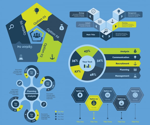 Vijf analyseren diagrammen templates set
